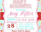 SHABBY CHIC Baby Shower or Happy Birthday Party Invitations - Set of 12 {1 Dozen} - Party Packs Available