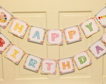 CHEVRON ART PARTY Happy Birthday Party Banner - Rainbow - Party Packs Available