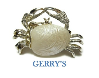 Gerry's crab brooch,  signed Gerry's, silver bumpy textured claws, white shell, small figural pin