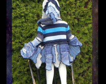 Blue Bird theme Kids patchwork elf coat, pixie sweater, boho hippie jacket, handmade beautiful from upcycled knits in variegated blue 18-24m