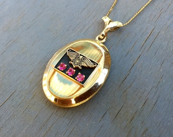 Vintage Gold Locket Necklace Eagle Locket Ruby Gemstones 30 year Jewelry 1950s