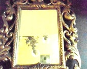 Victorian Mirror In Ornate Brass Frame  with Cherubs Swirls and Amulet Red Velvet Backing Home and Living Home Decor Mirrors