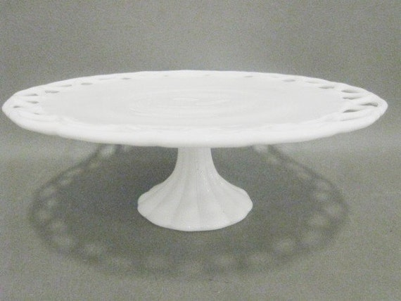 Vintage White Milk Glass 14in Pedestal Cake Plate by the