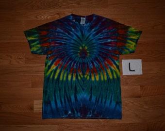 Tie Dye T-Shirt ~ Rainbow Spider Spiral with Blue Blades C_0509 Large