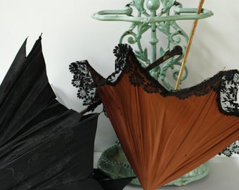 TWO French Antique Parasols....Black and Tan....Wedding Decor....Wedding Accessory....Frou Frou...Shabby Chic
