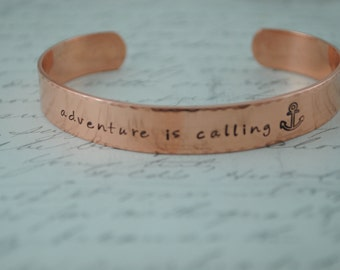 Keepsake Copper Adventure is Calling Hand Stamped Secret Message Bracelet