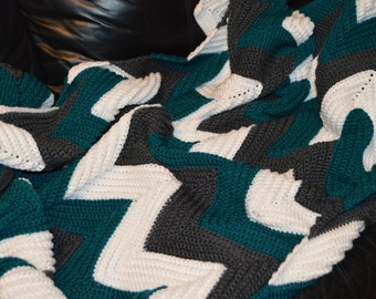 Large Crocheted Ripple Afghan in Charcoal Grey, Teal & White