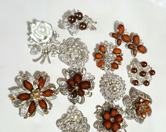 12 pc TOPAZ Brown BROOCHES, New Brooch Lot, Wedding Brooches, Crystal Brooches, Brooch Bouquet, Favors, Sashes, Hairpieces