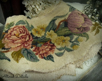 Antique Rustic Embroidered Tapestry Salvage Floral