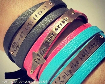 Stamped Triple Wrap Vegan Leather Bracelet. Stamped Leather Bracelet