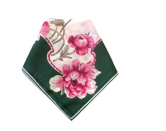 Vintage Pink Peony Hankie Green and Dusty Rose Hanky New With Tag Simplicity Handkerchief