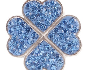 1 PC - 18MM Blue Clover Rhinestone Silver Tone Charm for Candy Snap Jewelry KC4022 Cc2397