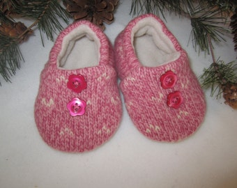 Toddler girl's wool slippers pink and cream fleece-lined size 9-12 mos.  RTS