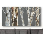 Extra LARGE Wall Art Print tree Art Rolled canvas pastels Gray white brown Abstract Landscape Office living dining room bedroom art Artwork