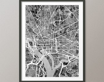 Washington DC Map, City Street Map Art Print (2334)