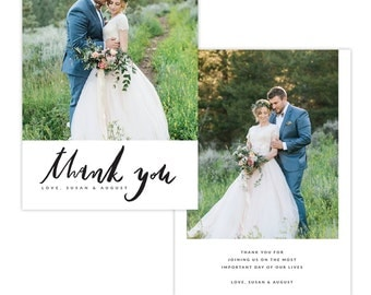 INSTANT DOWNLOAD - Thank You Photo Card Photoshop template - E1344