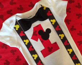 READY TO SHIP! Boys Mickey Mouse First Birthday Bodysuit with Black Bowtie, Boy Cake Smash Outfit, Mickey Suspenders Baby Boy First Birthday
