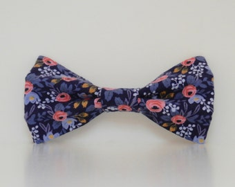 Floral Pink Blue Dog Bow Tie Le Fleur Wedding Accessories Spring Summer Collar Made To Order