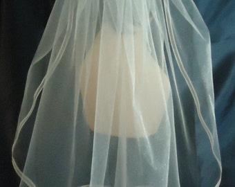 Elbow Length Veil, 20 Inch Illusion Veil, Ribbon Edge, Wedding Veil, REX3042