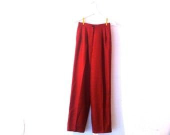 80s red checkered high waist pants / vintage black houndstooth wool pants xs/s
