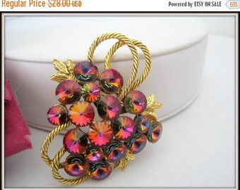 Red Raspberry Rivoli Brooch - AB Rhinestone
