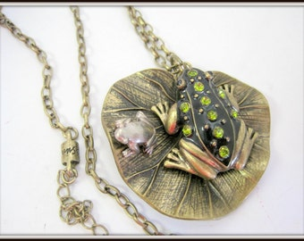 Rhinestone Frog Necklace - Black Enamel - Gold Tone Metal Backing and Chain - Signed Necklace