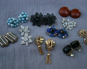 Vintage Costume Jewelry CLIP ON Earrings Lot of Ten Pairs Lucy Rockabilly Retro Mad Men Mid Century