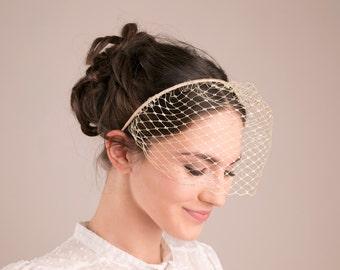 Gold birdcage headband, gold wedding veil