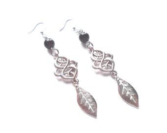 Metal Earrings, Silver Earrings, Black Earrings, Feather Earrings, Boho Earrings, Boho Jewelry, Modern Earring, Modern Jewelry, Gift For Her