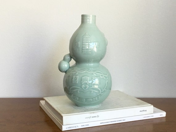 Vintage Japanese Celadon Porcelain Rice Wine Decanter Vase