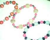 Set of Three Pink-Themed Beaded Stretch Bracelets