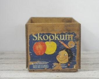 Vintage Wood Crate Fruit Crate Skookum Apples Crate Vintage Wood Box