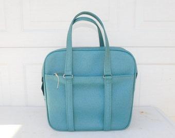 Vintage Samsonite Silhouette Blue Carry On Soft Retro Mid-Century Luggage Bag