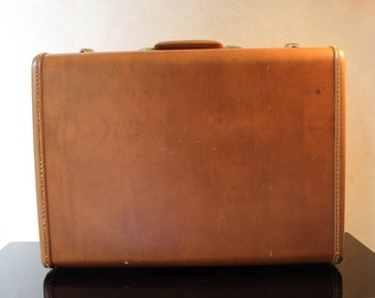 Hard body suitcase- Antique Samsonite Luggage- Vintage luggage- Brown Leatherette, two compartments- mid-century travel
