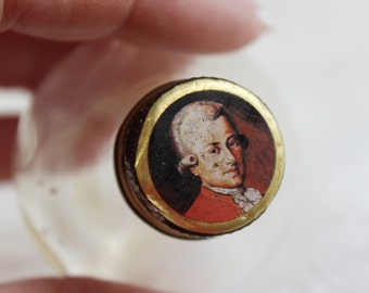 Liqueur Perfume Bottle with Portrait Lid- Antique/ Vintage- Small Bottle- Edwardian English, French Man's Portrait-
