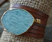 Amazonite  Leather Bracelet