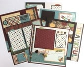 Fall Scrapbook Page Kit 12x12 or Premade Pre-Cut with Instructions 6 pages Thanksgiving