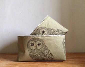 Owl Fabric Basket, Small Fabric Bin, Cute Fabric Basket, Brown Stripe Basket, Gadget Case, Essential Oil Storage, Tea bag case
