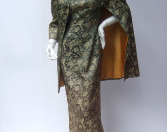Opulent Satin Brocade Evening Coat & Gown Ensemble c 1960