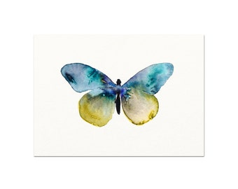 Blue Watercolor Butterfly Art Print. Blue Butterfly Painting. Nature Wall Art. Nursery Decor. Apartment Wall Art. Gallery Wall Art Print.