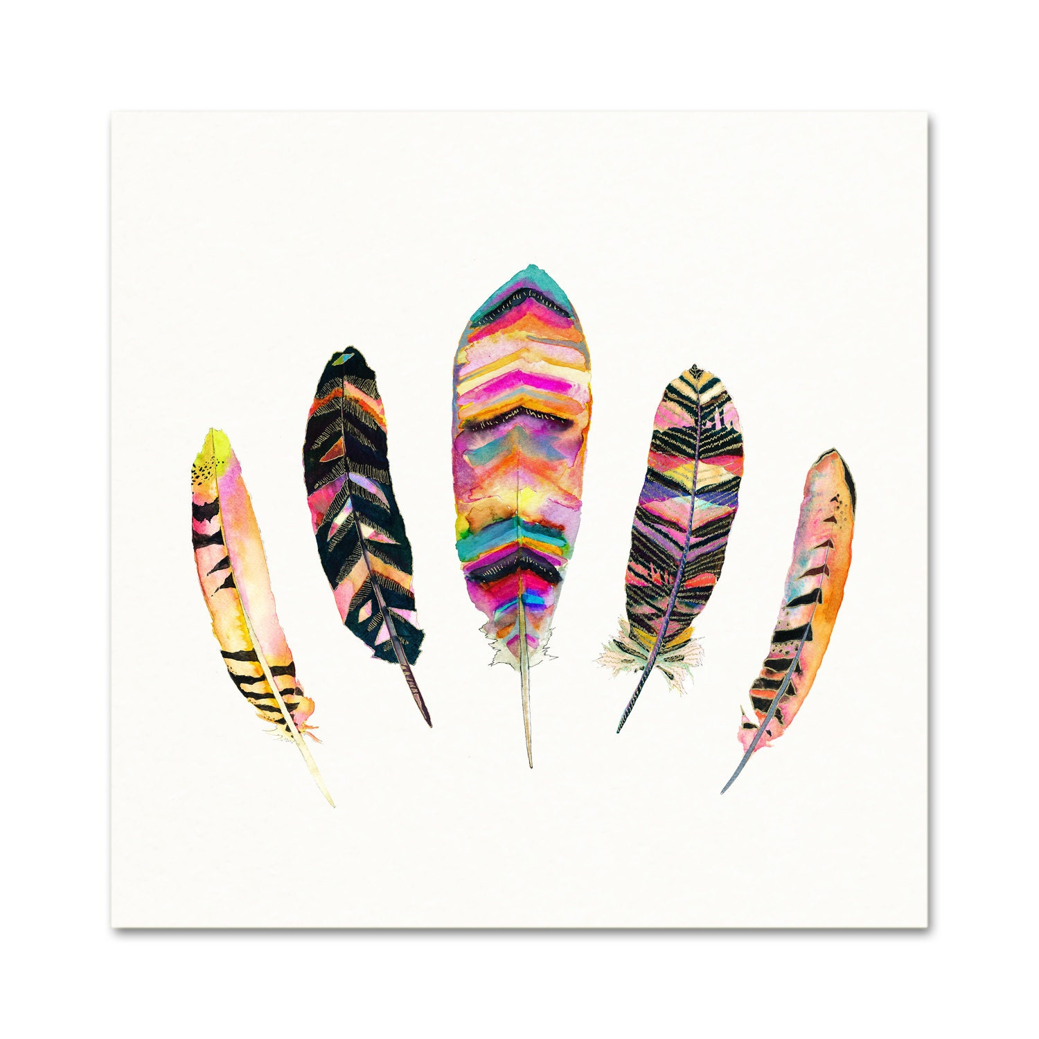 Tribal Feather Watercolor Art Print. Feather by SnoogsAndWilde