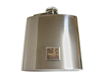 Deer Antler 6 oz. Stainless Steel Flask