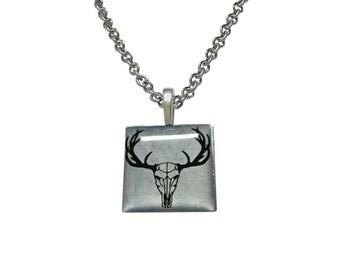 Square Deer Head Skeleton Image Pendant Necklace
