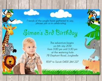 Jungle Animal Safari Photo Personalised Birthday Invitations - YOU PRINT