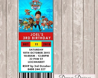 Paw Patrol Ticket Style Birthday Invitation - YOU PRINT