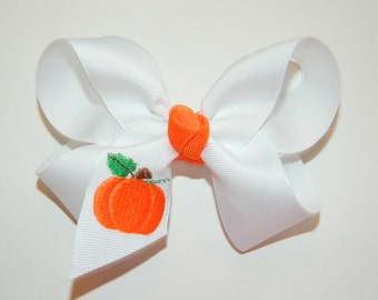 Pumpkin Large Hair Bow - Halloween Hair Bow, Thanksgiving Hair Bow, Pumpkin Hair Bow, Harvest Hair Bow, Pumpkins, Fall Hair Bow,