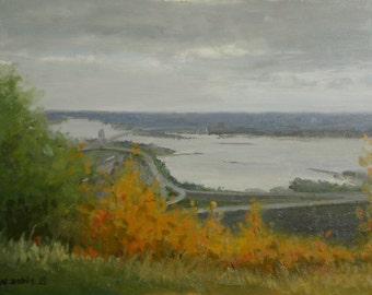 Plein air landscape oil painting - Autumn Colors Over the Harbor