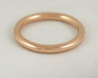 2.6mm Full Round Ring - 14k / 18k / 22k / 24k Solid Gold Wedding Band - Yellow, Rose, or White Gold Stacking Ring