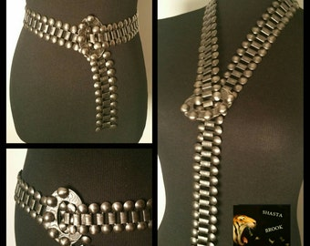 Vintage Intricate Chainlink Pewter Belt - Medieval LARP Cosplay Game of Thrones Costume - Belt Necklace - Chainmail - Adjustable 34 Inch Max