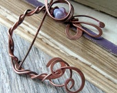 Celtic Shawl pin or scarf pin, wire wrapped copper shawl pin, floral copper brooch, purple flower woodland brooch, large penannular brooch